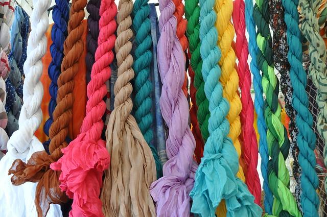 A rainbow of scarves