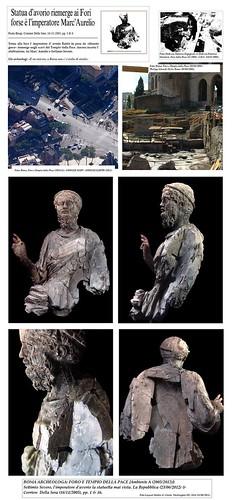 ROMA ARCHEOLOGA: FORO E TEMPIO DELLA PACE [Ambiente A (2005/2012)]:  Settimio Severo, l'imperatore d'avorio la statuetta mai vista. La Repubblica (23/06/2012) & Corriere Della Sera (16/11/2005), pp. 1 & 16. by Martin G. Conde