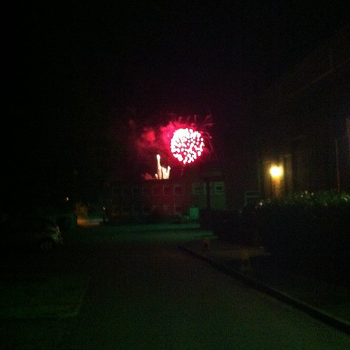 Watching the #riverfestival fireworks - from the school gates!!