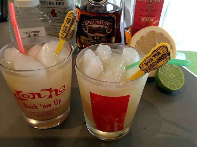 Navy Grog (Don the Beachcomber): lime juice, grapefruit juice, honey syrup, light rum, dark Jamaican rum, Demerara rum, soda water