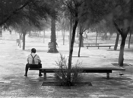 Sitting on a bench after the storm