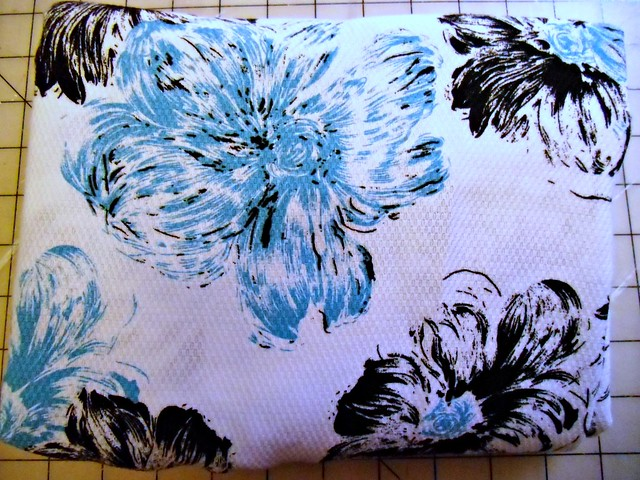White/Black/Blue floral fabric