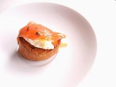 Smoked salmon + crème fraîche + truffle salsa pintxo / pincho / tapa /crostini