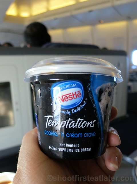 Philippine Airlines Business Class meal Mnl-Hkg-Mnl- Nestle Temptations ice cream