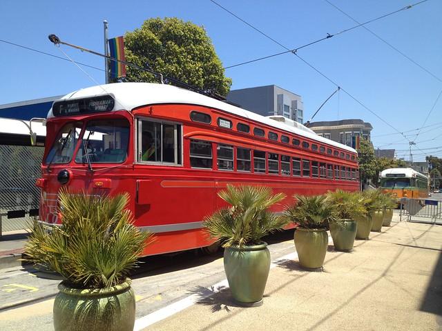 F-Line Muni red streetcar