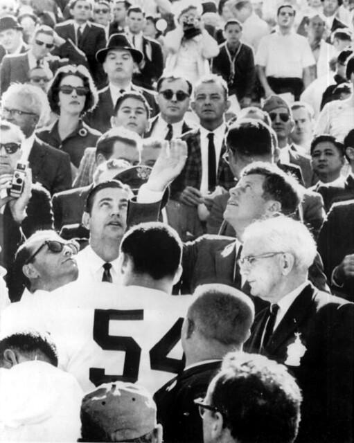 Kennedy amongst a crowd