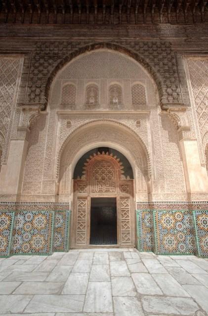 An internal entry way at Medersa Ben Youssef.