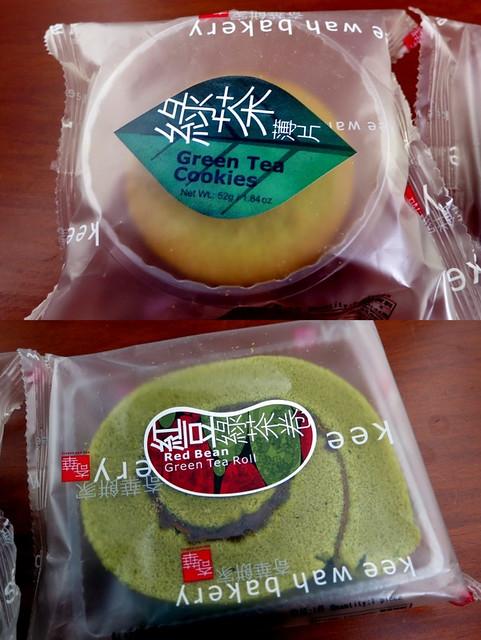 Kee Wah Bakery - green tea cookies & red bean green tea roll