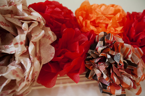 paper flowers on the mantel
