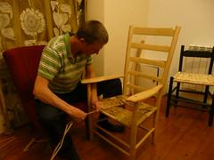 Rush seat weaving