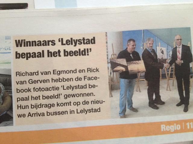 Publicatie Krant van Flevoland (11-07-2012).