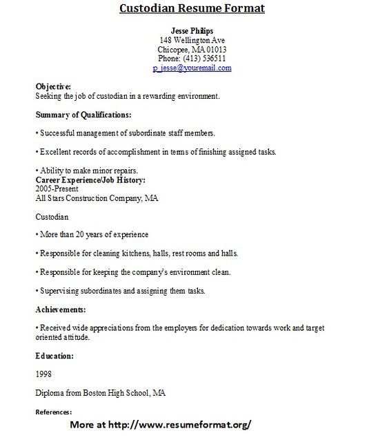 Custodian Position Resume Independent Contractor Example