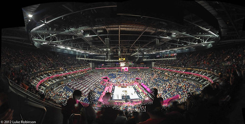 Panorama of the North Greenwich Arena during the USA Spain Olympic Basketball Final, August 12th 2012