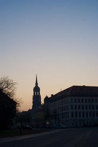 Dreikönigskirche bei Sonnenaufgang