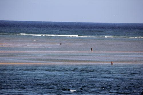ocean and sand bars, cape cod mass.
