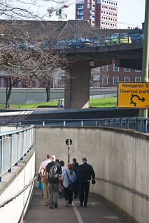 Pedestrian subway car flyover divide