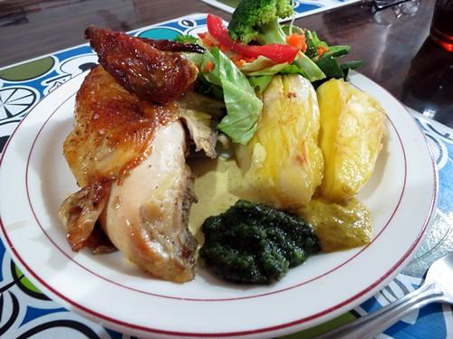 Charcoal chicken, cassava & salad