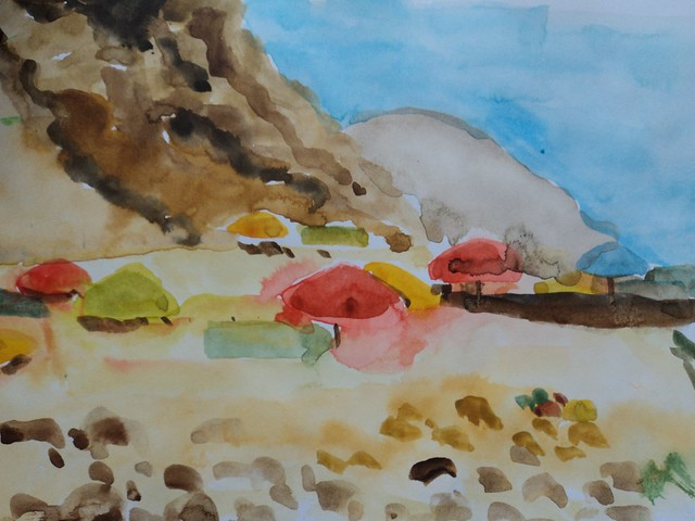 Watercolouring on the beach