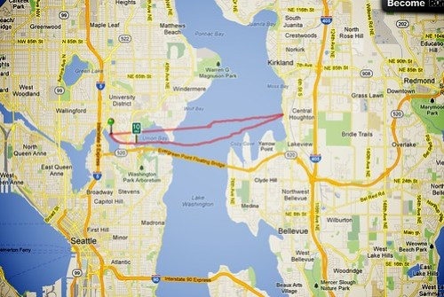 GPS Track of Seattle to Kirkland in a Kayak