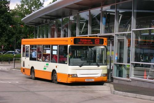 Bluebird Bus and Coach Dennis Dart SLF 0005 BLU, Oldham bus station
