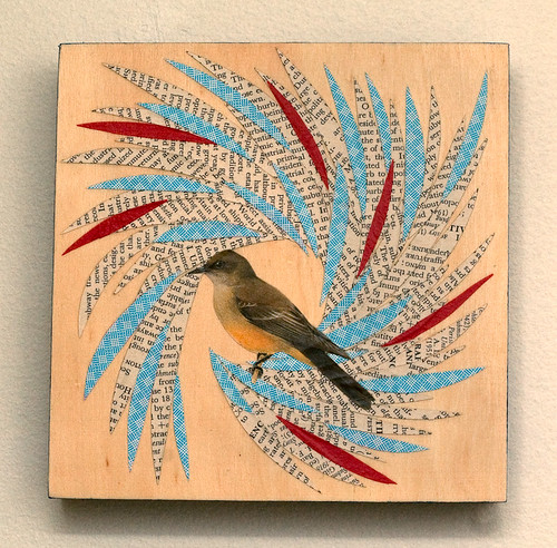 Bird collage on wood-2