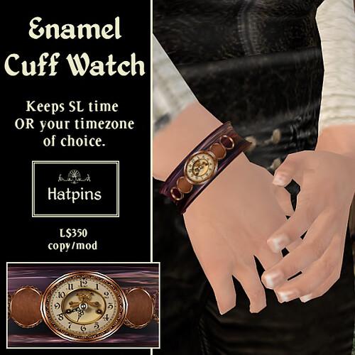 Hatpins - Enamel Cuff Watch