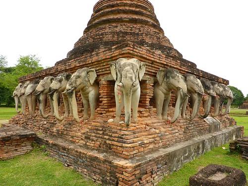 Elephant temple in Sukhothai (Wat Chang Lom)