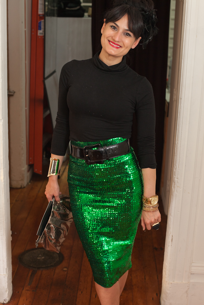 Angie of The Hotness Your Momma Warned You About, wearing a green sequin Asos pencil skirt. Photo by Kurt Manley.