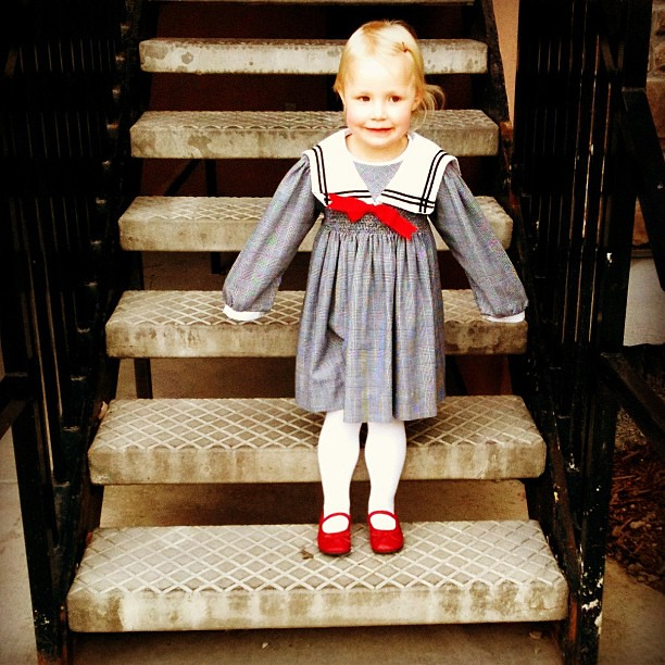 I love this girl. And I love that she always picks red shoes for church. :)