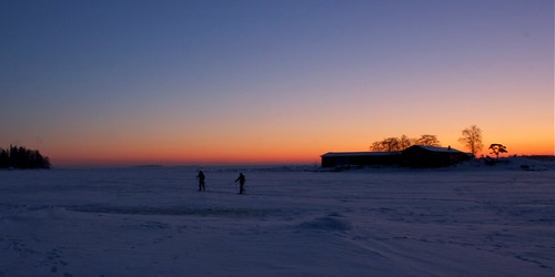 Skiing on ice in Helsinki