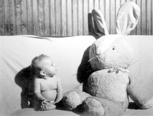 Sharon Monts-DeOca looks at stuffed rabbit she was given on her first Christmas: Jacksonville, Florida