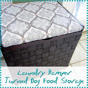laundry hamper turned dog food storage