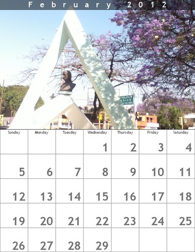 Oaxaca Calendar 2012: February (featuring Benito Juarez' mother and jacaranda tree in bloom) @bighugelabs