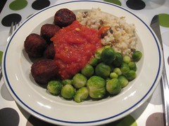 Spicy falafel & hot tomato sauce, Brussels sprouts and nutty rice mix