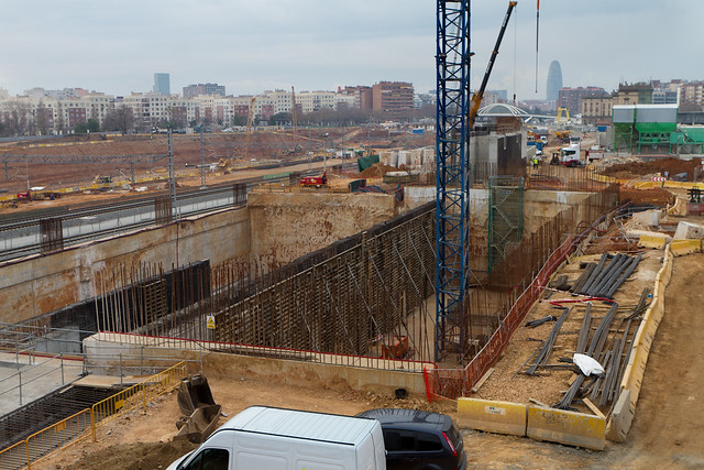 Pont del Treball - Sur - Obras del metro Linea 9 - 27-01-12
