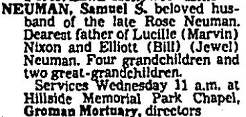 Sam Neuman's Obit Aug. 28, 1978