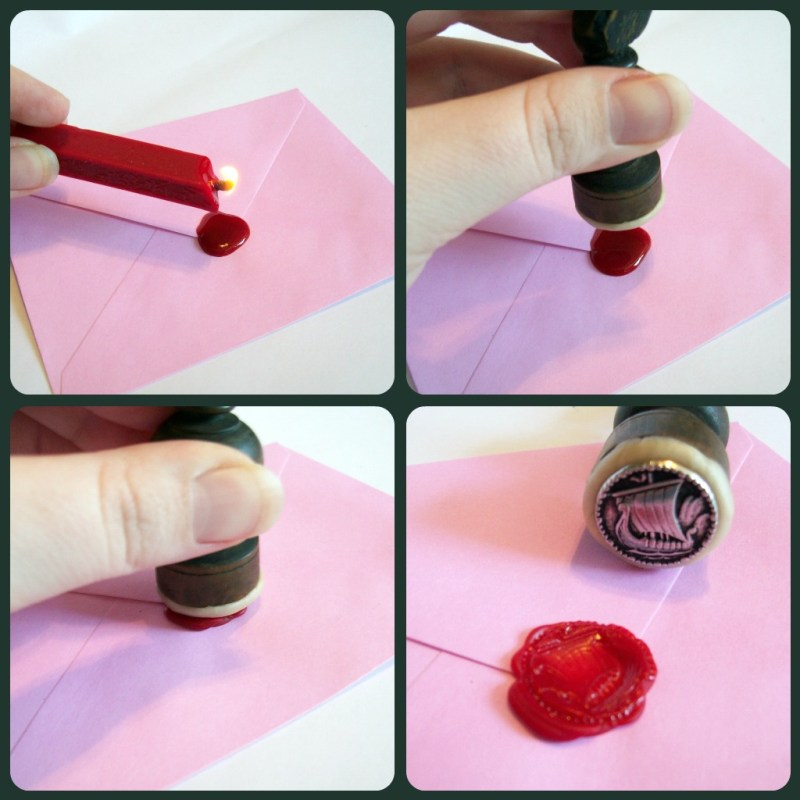 Testing the wax seal on envelope