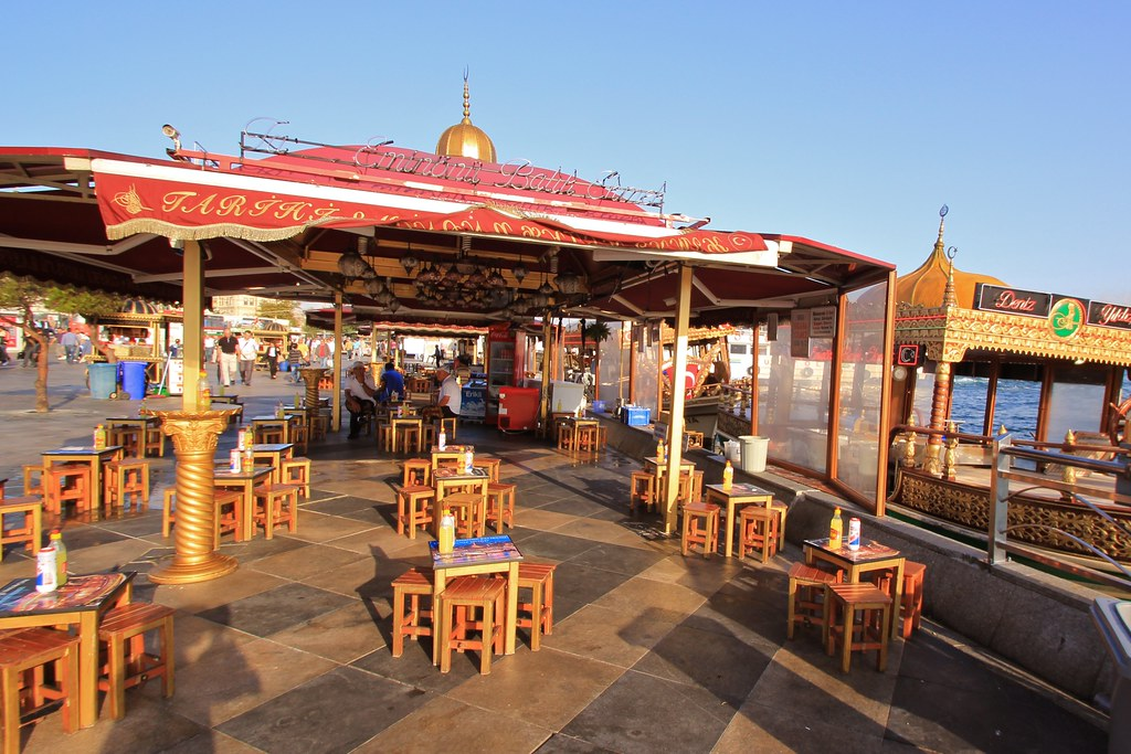 Fish sandwich cafes along the Bosphorus in Istanbul