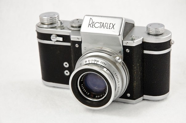 Italian Rectaflex 35mm film camera and lens, front view