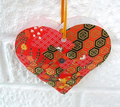 Washi paper woven heart
