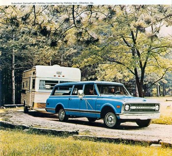 1970 Chevrolet Carryall Suburban and Holiday Travel Trailer