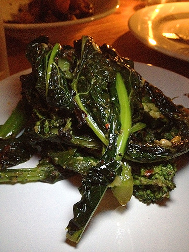 Broccolini, Kale, Garlic Confit & Red Chili Flakes at Chef Ludo's Un Petit Porc Dinner