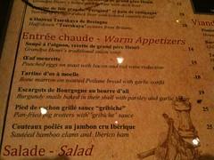 Warm appetizers menu, Brasserie Gavroche, 66 Tras Street, Singapore