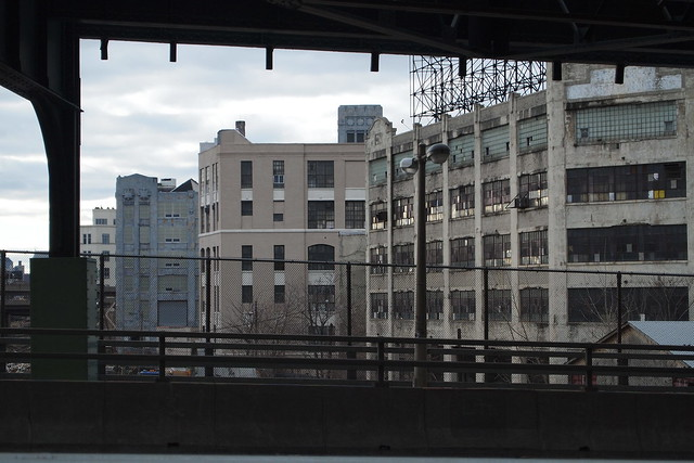 View of Long Island City factory buildings from the bridge to Sunnyside