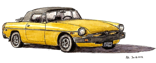 yellow MG car