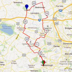 02. Bike Route Map. Somerset Valley YMCA, Hillsborough, NJ