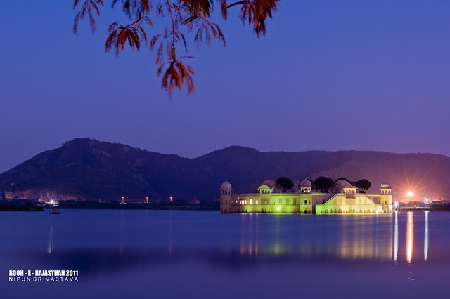 Jal Mahal by night.