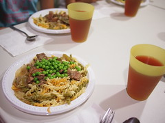 Pork stew, peas and pasta at camp