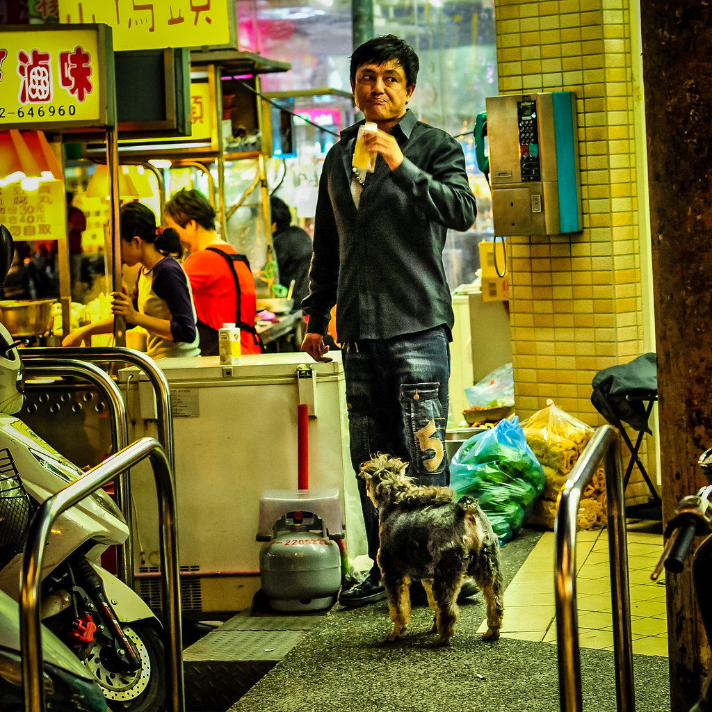 Taichung Night Market Mohawk Dog and dude | nikon d700 85mm F5.6 1/125 iso 3200