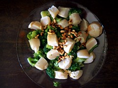 Broccoli, Hokkaido scallops, pine nuts